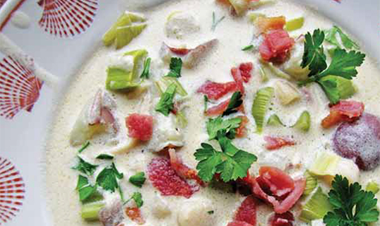 Clam Chowder with Bacon Bits